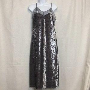 Shiny grey velvet and lace slip dress - new